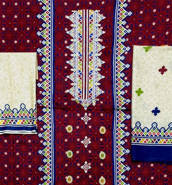 Ajrak Linen Embroidery Suit Wool Shawl Dupatta UnStitched (LN-172) Gallery Image 3