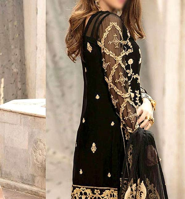 Heavy Embroidered Black NET Dress with Net Dupatta Unstitched (CHI-397) Gallery Image 1