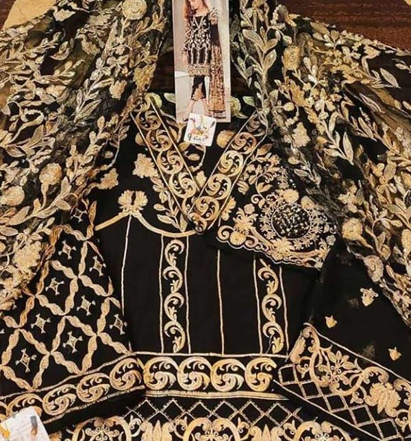 Heavy Embroidered Black NET Dress with Net Dupatta Unstitched (CHI-397) Gallery Image 2