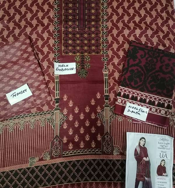 Khaddar Embroidered Dress with Wool Shawl Dupatta (Unstitched) (KD-116) Gallery Image 1