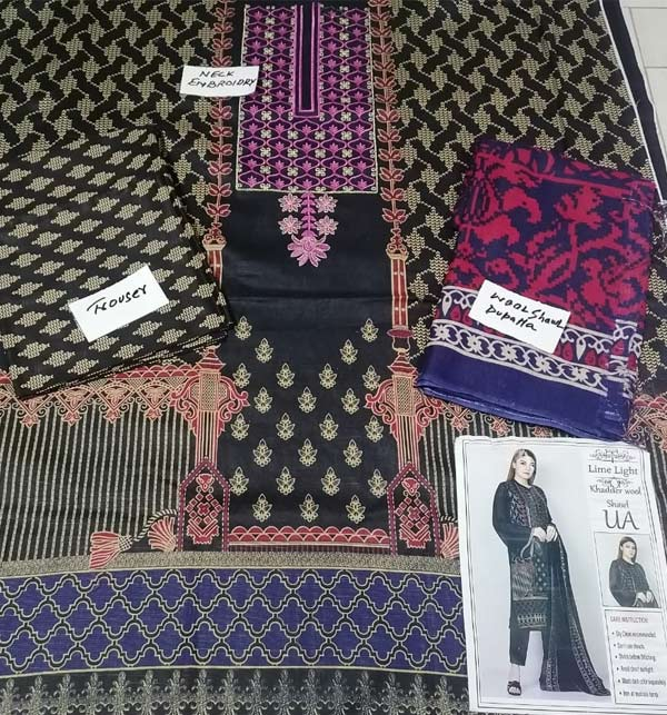 Black Embroidered Khaddar Dress with Wool Shawl Dupatta (Unstitched) (KD-119) Gallery Image 1