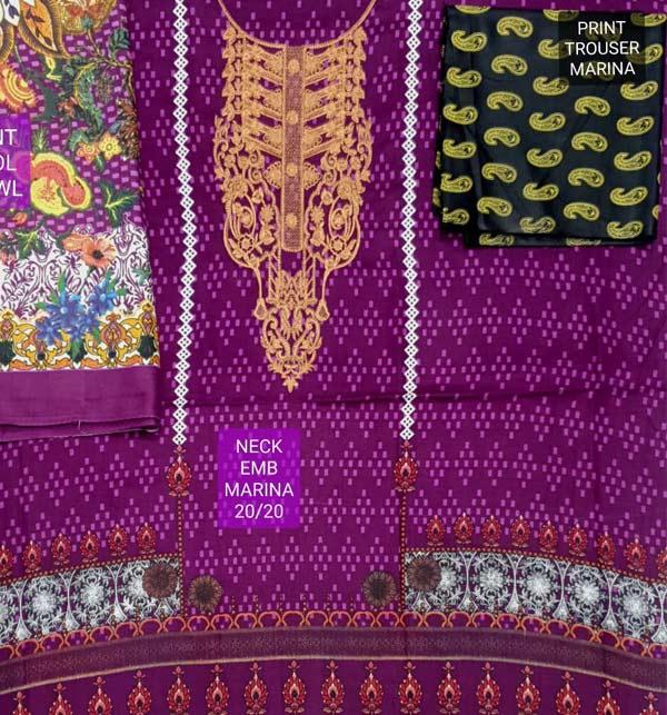 Embroidered Marina Dress with Marina Shawl Dupatta (KD-125) Gallery Image 1
