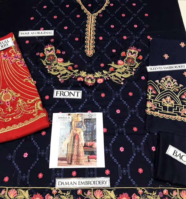 Linen Heavy Embroidery Suit With Trouser Embroidery  (LN-188) Gallery Image 1