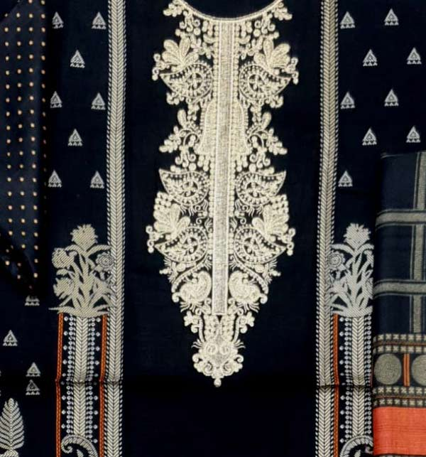 Khadder Embroidered Dress with Wool Shawl Dupatta (Unstitched) (KD-128) Gallery Image 2