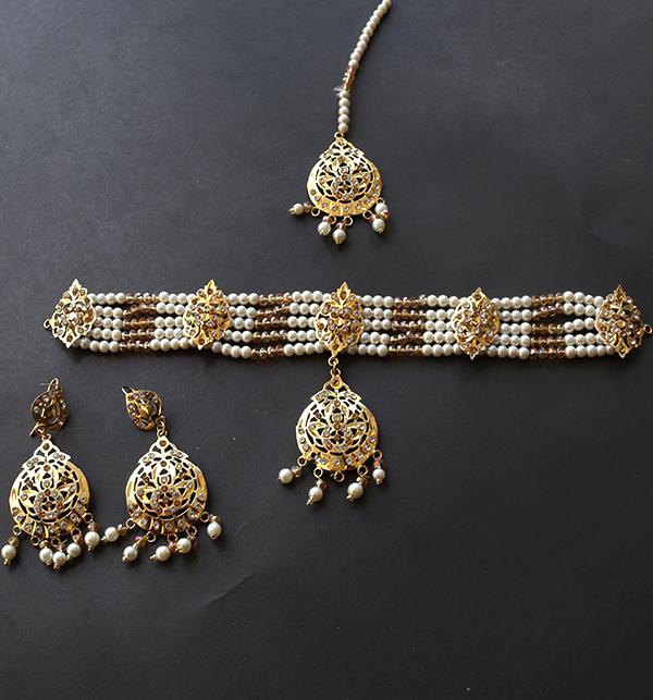 Hyderabadi Jewellery Set With Earing & Matha Patti (PS-243) Gallery Image 1