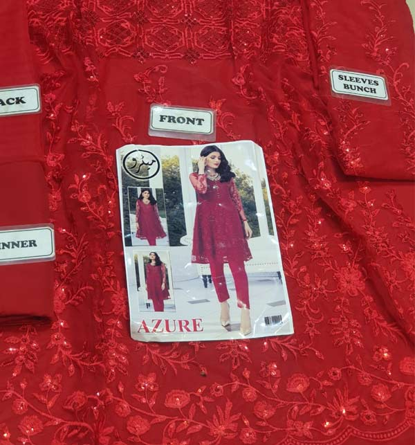 Heavy Full Embroidery Net Kurti With Inner (K-100) (Unsicthed) Gallery Image 1