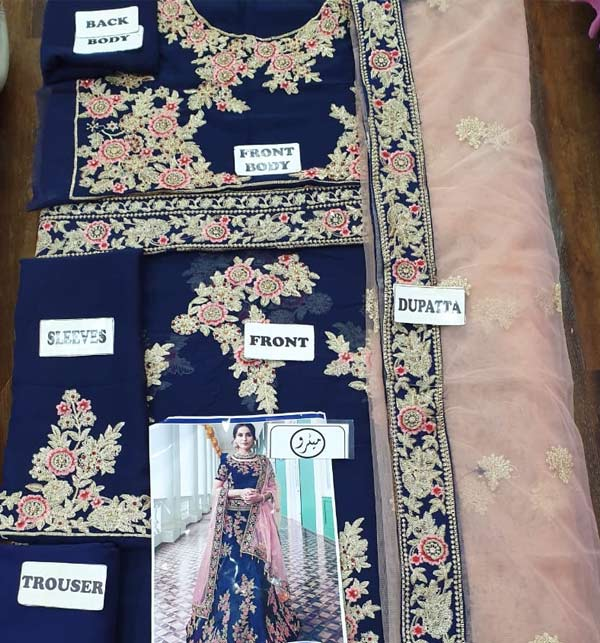 Indian Designer Chiffion Suit With Net Embroidery Duppata (CHI-401) Gallery Image 1