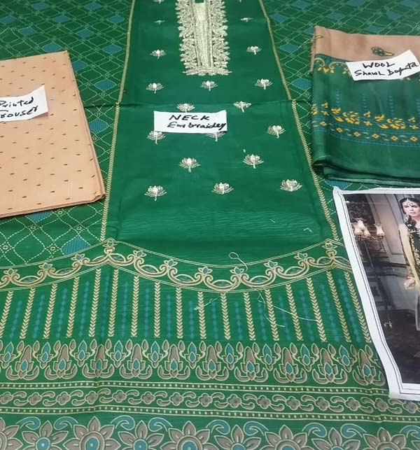 Khadder Embroidered Dress with Wool Shawl Dupatta  (Unstitched) (KD-131) Gallery Image 2