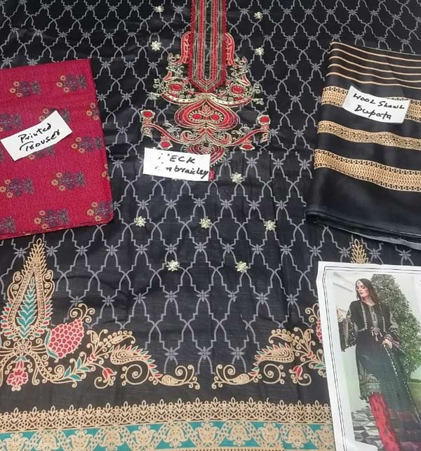 Black Khadder Embroidered Dress with Wool Shawl Dupatta  (Unstitched) (KD-132) Gallery Image 2