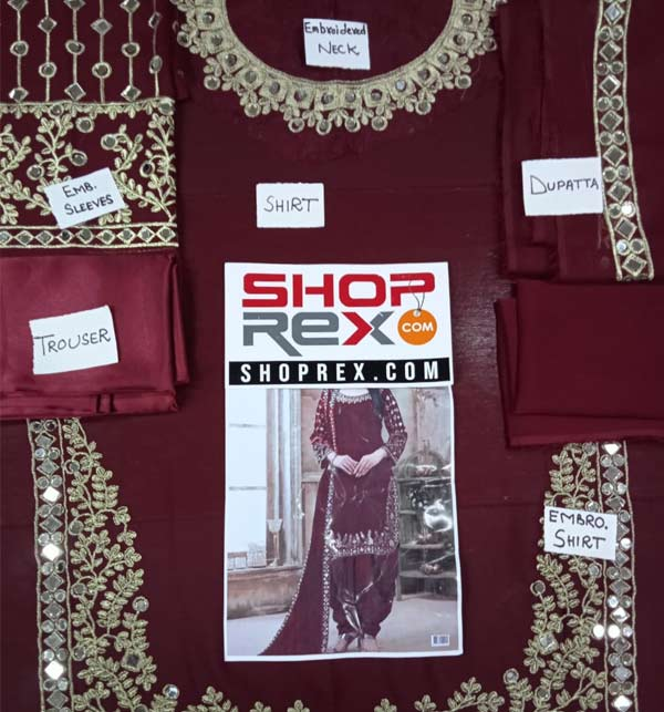 Chiffon Embroidery Mirron Work Suit Maroon Color (Unsicthed) (CHI-404) Gallery Image 1