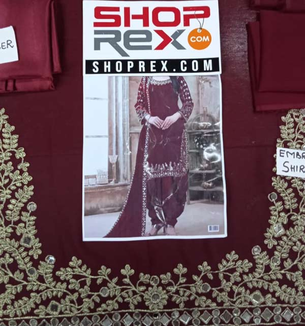 Chiffon Embroidery Mirron Work Suit Maroon Color (Unsicthed) (CHI-404) Gallery Image 2