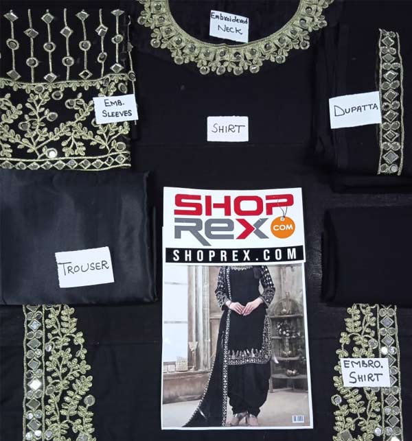 Chiffon Embroidery Suit With Mirror Work Black Color (Unsitched) (CHI-406) Gallery Image 1