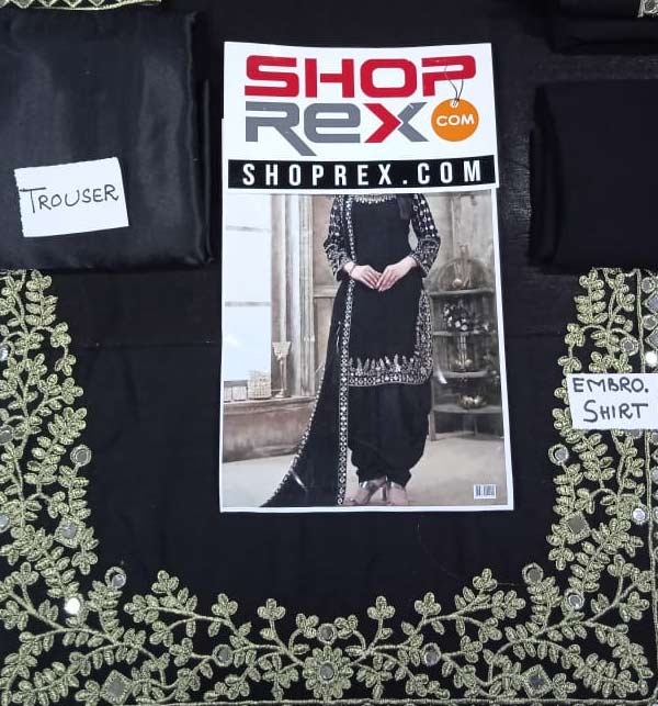 Chiffon Embroidery Suit With Mirror Work Black Color (Unsitched) (CHI-406) Gallery Image 2