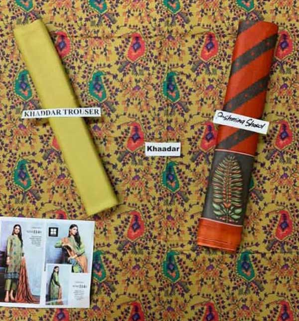 Digital Print Khaddar Dress with Pashmina Shawl(KD-136) Gallery Image 1