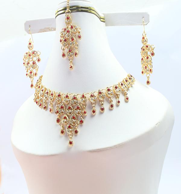 Designer Bridal Jewellery Set with Matha Patti (PS-246) Gallery Image 1