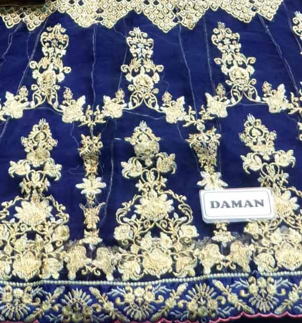 Wedding Fancy Sami Stitched Heavy Embroidery NET Dress Sequence Embroidery Work Western Suit (Unstitched) (CHI-412) Gallery Image 2