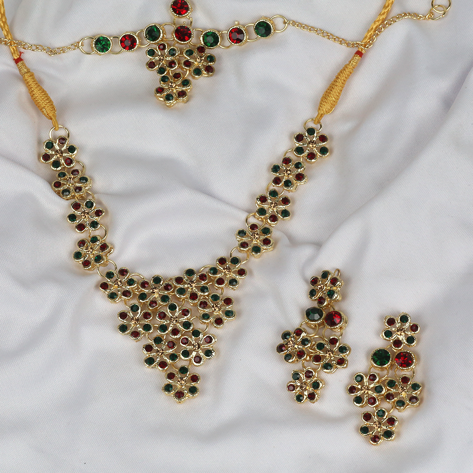 Heavy Multicolor Bridal Necklace with Earrings and Matha Patti (PS-249) Gallery Image 1