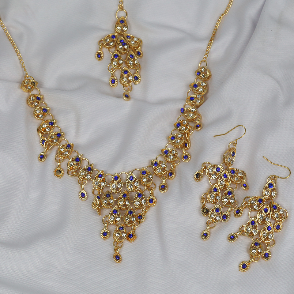 Blue Color Stone Golden Jewellery Set 2021 with Matha Patti (PS-250) Gallery Image 1
