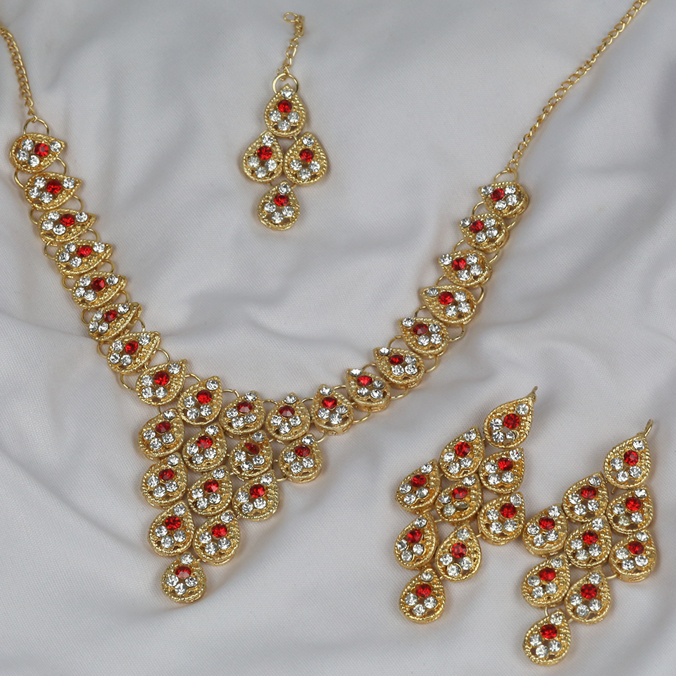 Necklace Set with Earrings and Matha Patti (PS-251) Gallery Image 1