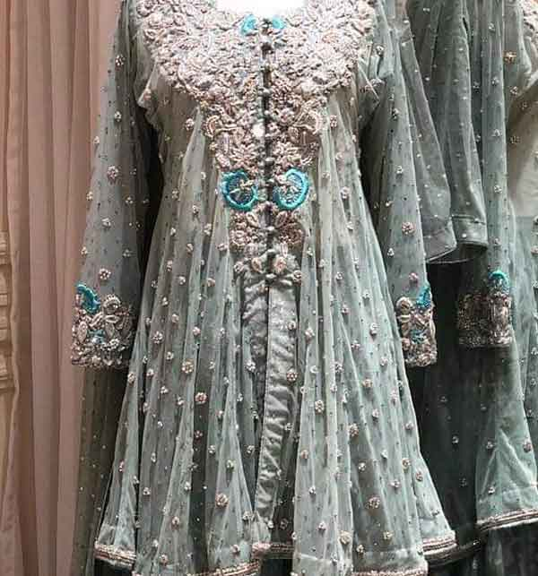 Chiffon Bridal Embroidered Dress Chiffon Heavy Gharara (unsitched) (CHI-416) Gallery Image 1