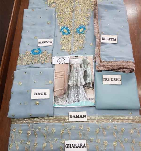 Chiffon Bridal Embroidered Dress Chiffon Heavy Gharara (unsitched) (CHI-416) Gallery Image 2