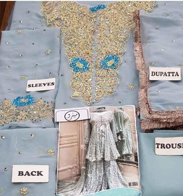Chiffon Bridal Embroidered Dress Chiffon Heavy Gharara (unsitched) (CHI-416) Gallery Image 3