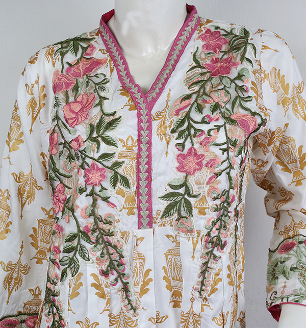 Stitched 2-Pcs Embroidered Boski Linen Suit with Embroidered Trouser  (LN-205) Gallery Image 1