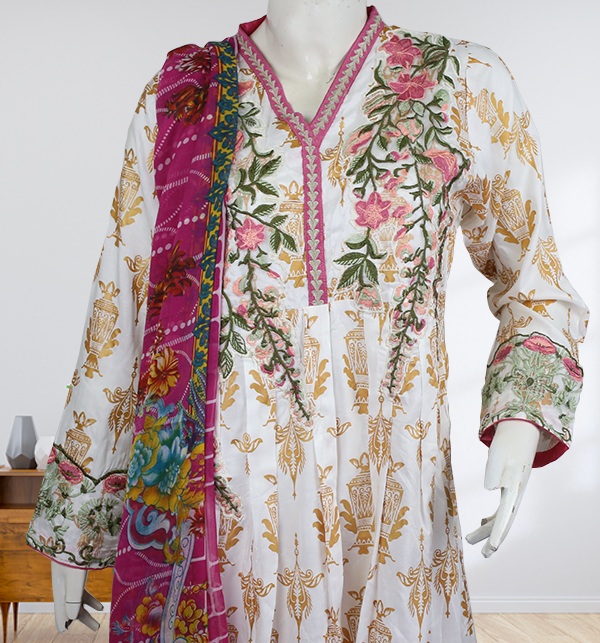 Stitched 2-Pcs Embroidered Boski Linen Suit with Embroidered Trouser  (LN-205) Gallery Image 2