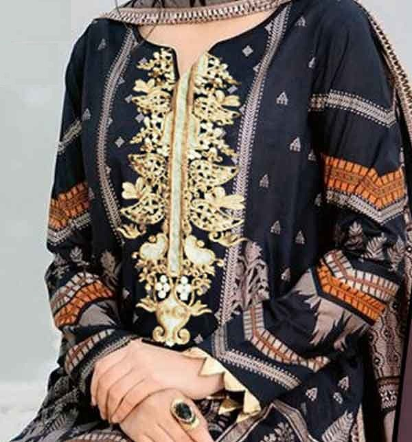 Lawn Embroidered Dress With Chiffon Dupatta  3PC SUIT (DRL-658) Gallery Image 1