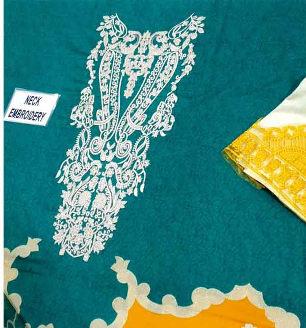 New 3PC Embroidered Unstitched Lawn Suit With Chiffon Duppata (DRL-660) Gallery Image 3