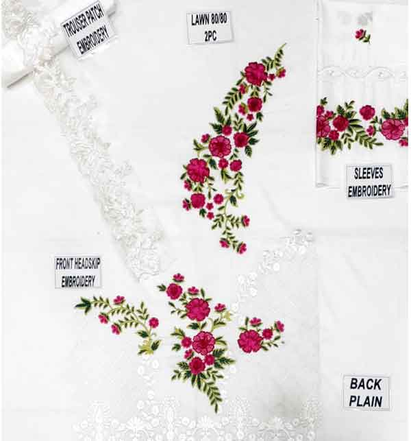 Lawn White Sequence Embroidered Dresses With Embroidered Trouser (Unstitched) (DRL-665) Gallery Image 1
