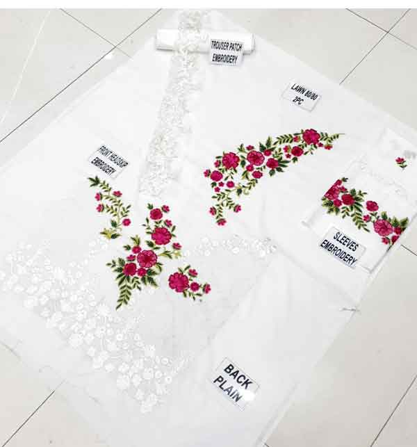Lawn White Sequence Embroidered Dresses With Embroidered Trouser (Unstitched) (DRL-665) Gallery Image 2