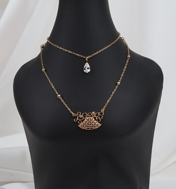 Love Double Chain Necklace For Women  (PS-253) Gallery Image 1