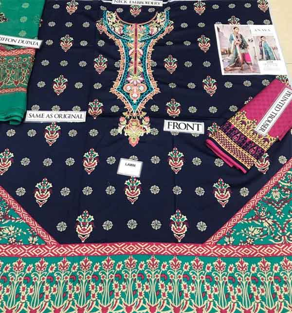 Lawn Neck Embroidery Suit With Chiffon Duppata  (DRL-667) Gallery Image 1