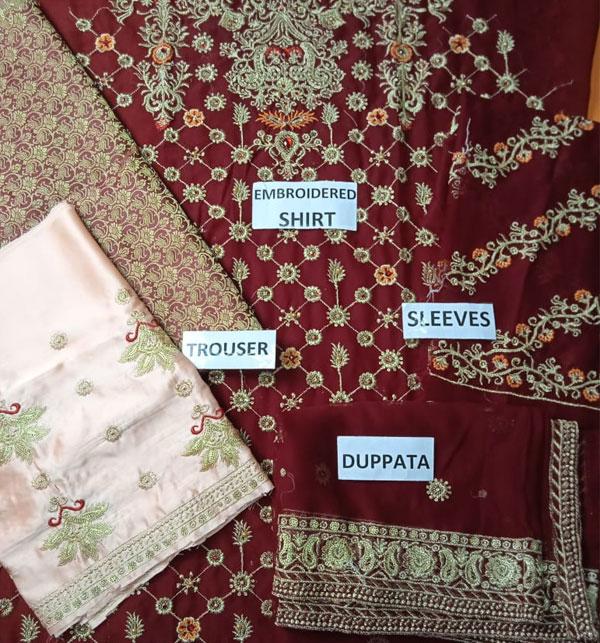 Chiffon Bridal Embroidery Suit With Chiffon Embroidery Dupatta  (CHI-430) Gallery Image 1
