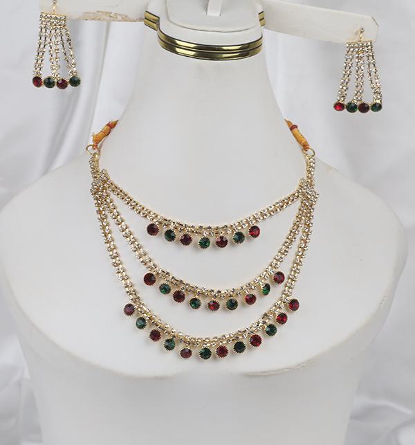Multi Color Bridal Artificial Mala Jewellery Set (PS-262) Gallery Image 2