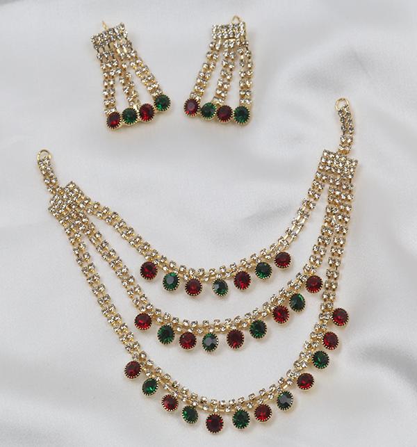Multi Color Bridal Artificial Mala Jewellery Set (PS-262) Gallery Image 3