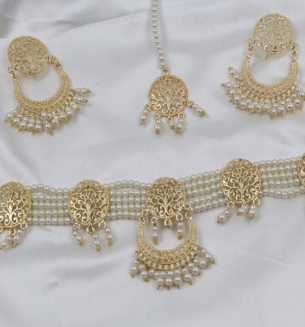 Golden And Pearl Jewelry Sets With Matha Patti (PS-263) Gallery Image 2