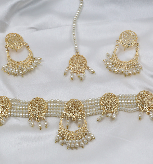 Golden And Pearl Jewelry Sets With Matha Patti (PS-263) Gallery Image 4