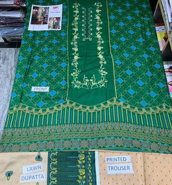 New Neck Embroidered Lawn Suit With Lawn Dupatta Un-Stitched (DRL-676) Gallery Image 1