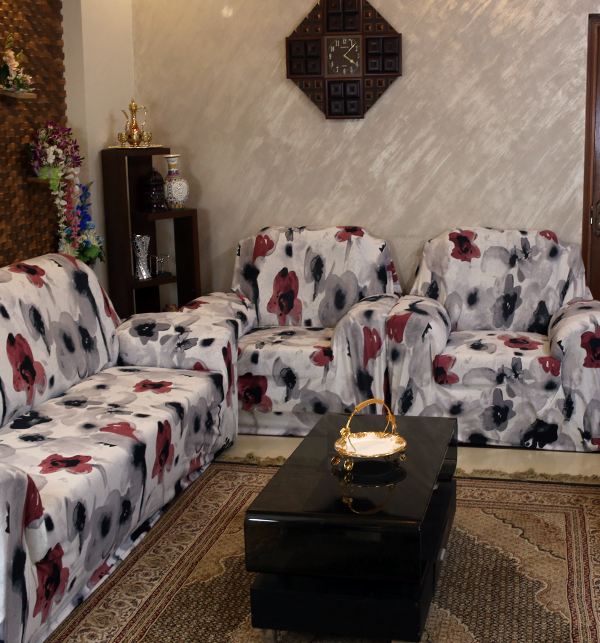 Printed Flower Jersey Sofa Covers Protector Slipcover - (5 Seater) (3+1+1) Gallery Image 1