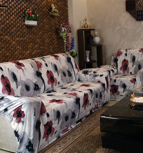 Printed Flower Jersey Sofa Covers Protector Slipcover - (5 Seater) (3+1+1) Gallery Image 2