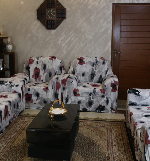 Printed Flower Jersey Sofa Covers Protector Slipcover - (5 Seater) (3+1+1) Gallery Image 3