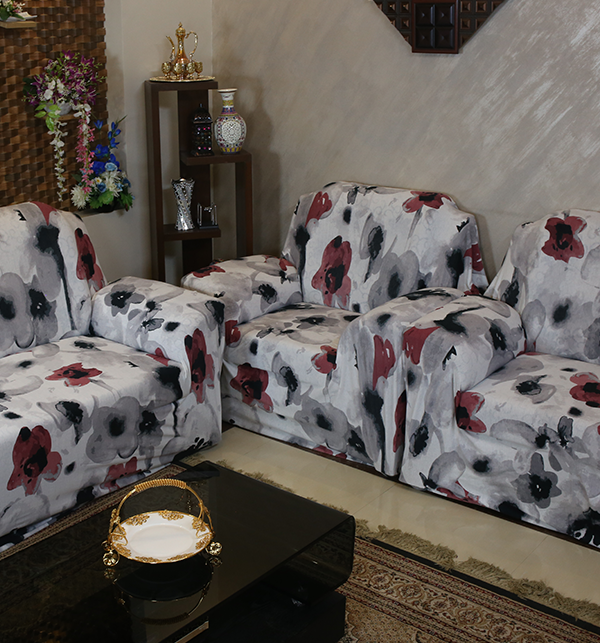 7 Seater Printed Flower Jersey Sofa Covers Protector Slipcover (3+2+1+1) Gallery Image 1