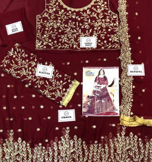 Ladies Indian Chiffon Embroidered Frock Maroon (CHI-431) Gallery Image 1