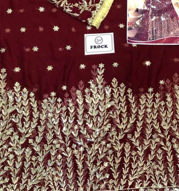 Ladies Indian Chiffon Embroidered Frock Maroon (CHI-431) Gallery Image 2