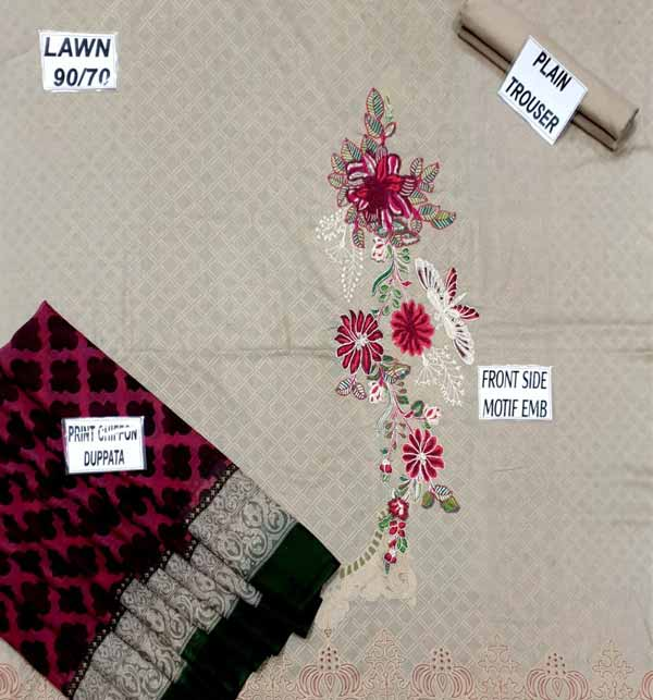 New Lawn 90/70 Embroidered Suit With Chiffon Dupatta (DRL-682) Gallery Image 1