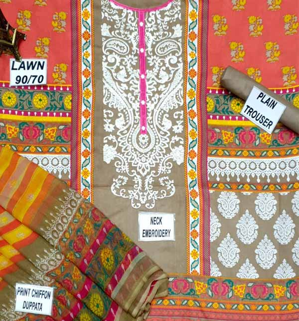 Lawn  90/70 Embroidery Suit With Printed Chiffon Duppata (DRL-685) Gallery Image 1