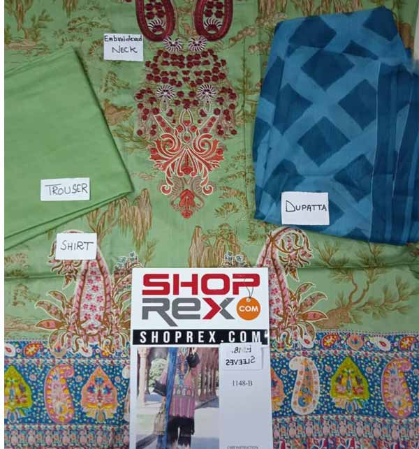 Lawn Embroidered Dress With Chiffon Dupatta (DRL-687) Gallery Image 1