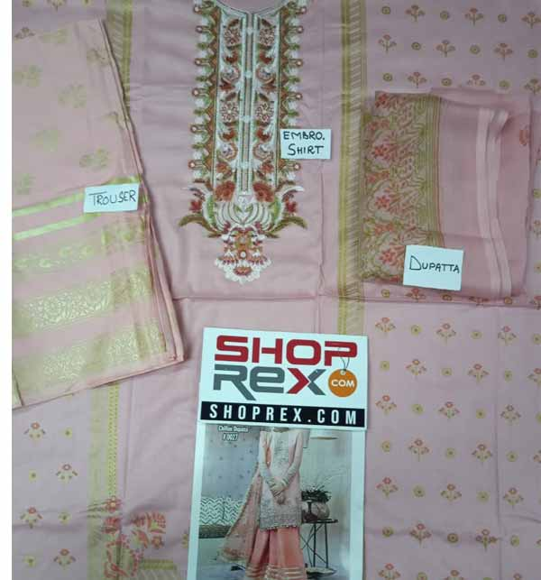 New Design Lawn Embroidered Suit 2021 With Chiffon Dupatta (DRL-691) Gallery Image 1